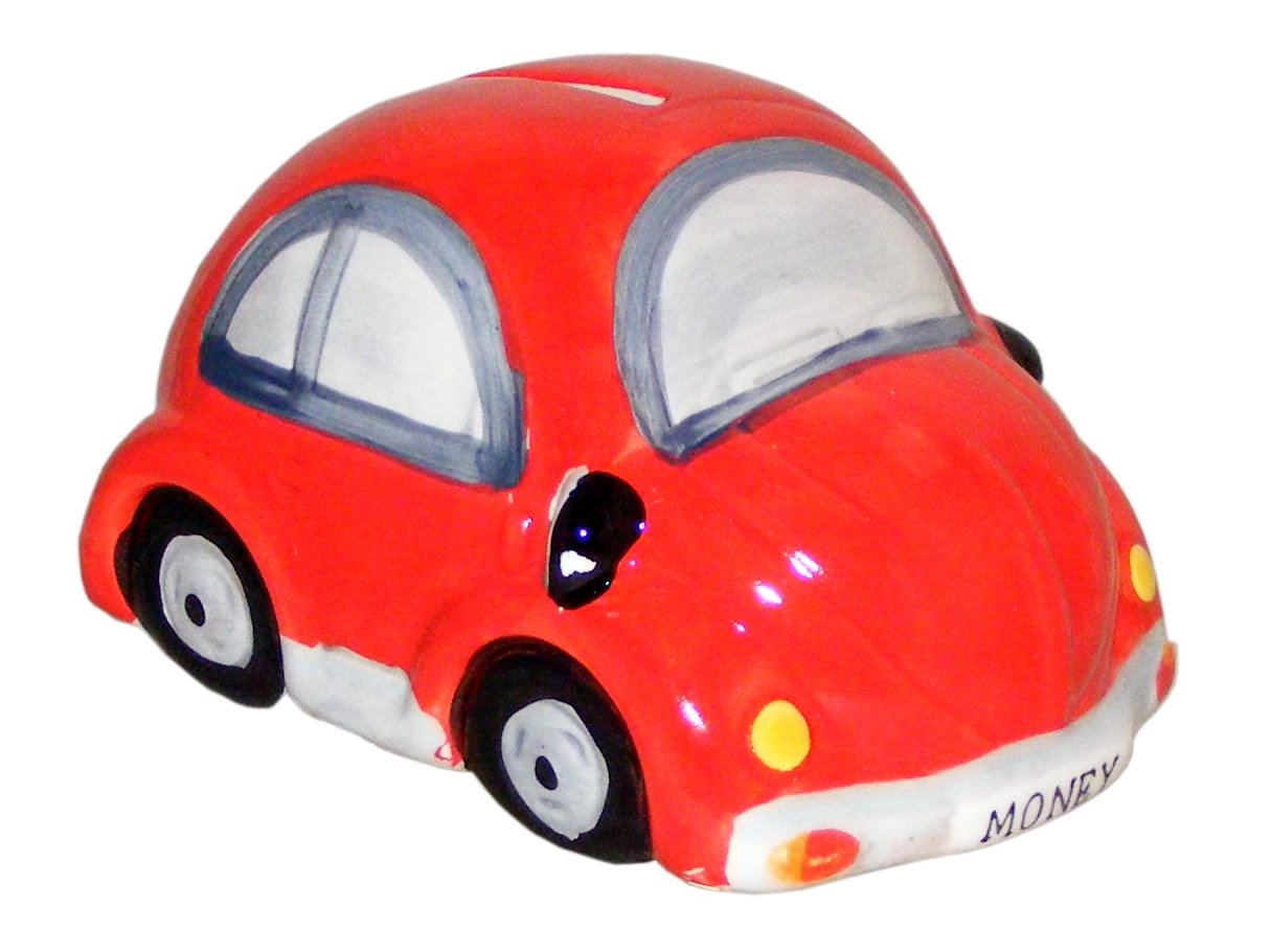 Glazed Ceramic Red Beetle Style Car Money Box