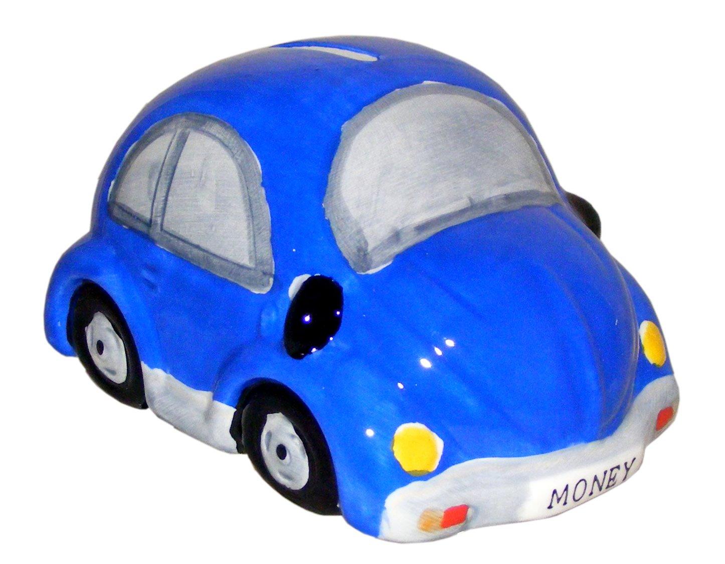 Glazed Ceramic Blue Beetle Style Car Money Box