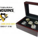 Pittsburgh Penguins Stanley Cup Championship Ring Set In Wooden Display Case