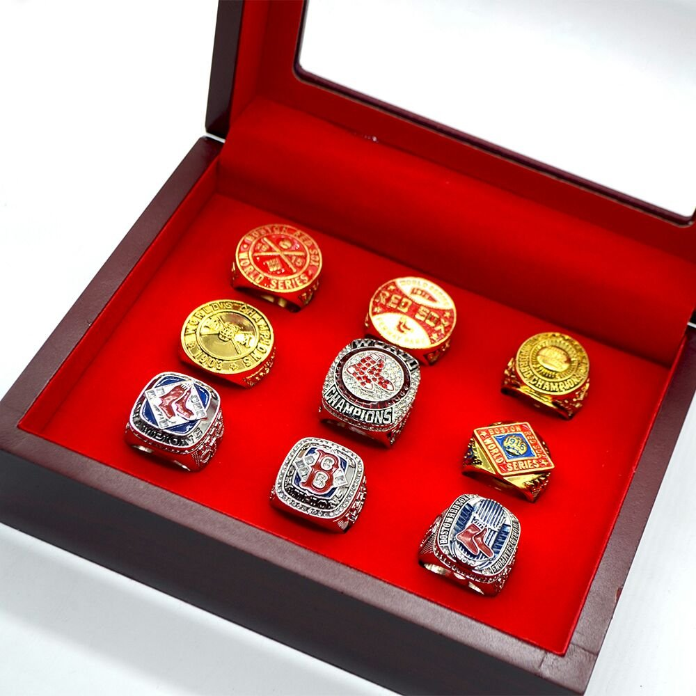 Boston Red Sox Complete Championship 9 Ring Set Size 11