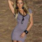 Deep V-Neck Lace up back Bandage regular sleeve Women Sexy Casual robe Dresses W203440C