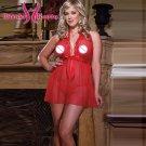 Plus Size Red Women Sexy Lingerie Sheer Babydoll Underwear Nighty Sleepwear With G-String W846019