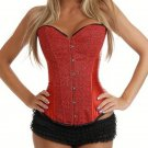 Ladies Fashion Red Satin Lace Up Boned Sequined Bodyshaper Corset Bustier Top Overbust W580867B