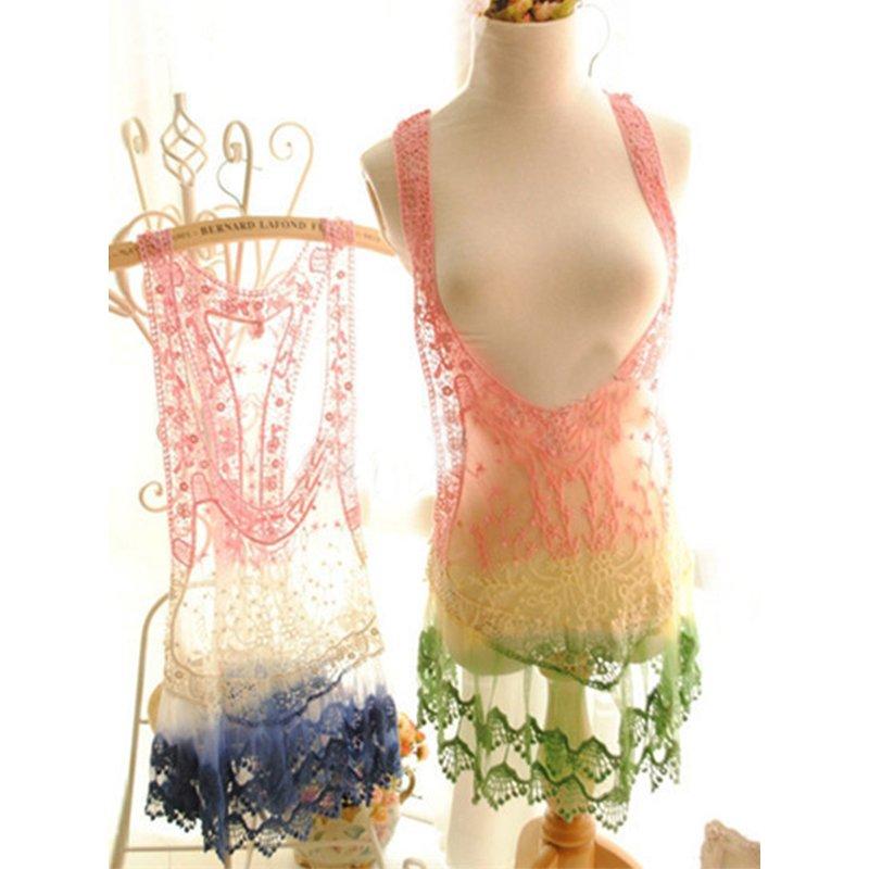 Women Bathing Suit Lace Beach Dress Sleeveless Floral Sundress Casual Vest Tank Tops WT32958A