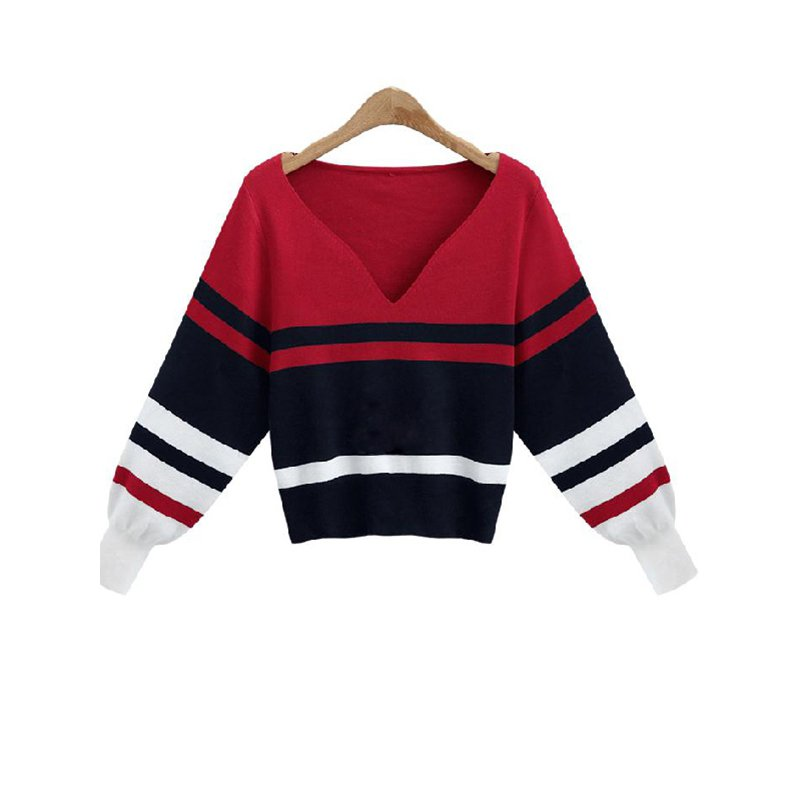 Women Sweater High Quality Sexy Fashion Long Sleeve V-Neck Knitted Warm Tops WT51982