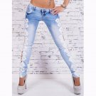 Spring Sexy Blue Jeans Lace Leggings Women Girls Fashion Pants Leggings Sexy Lace Stitching WT32637