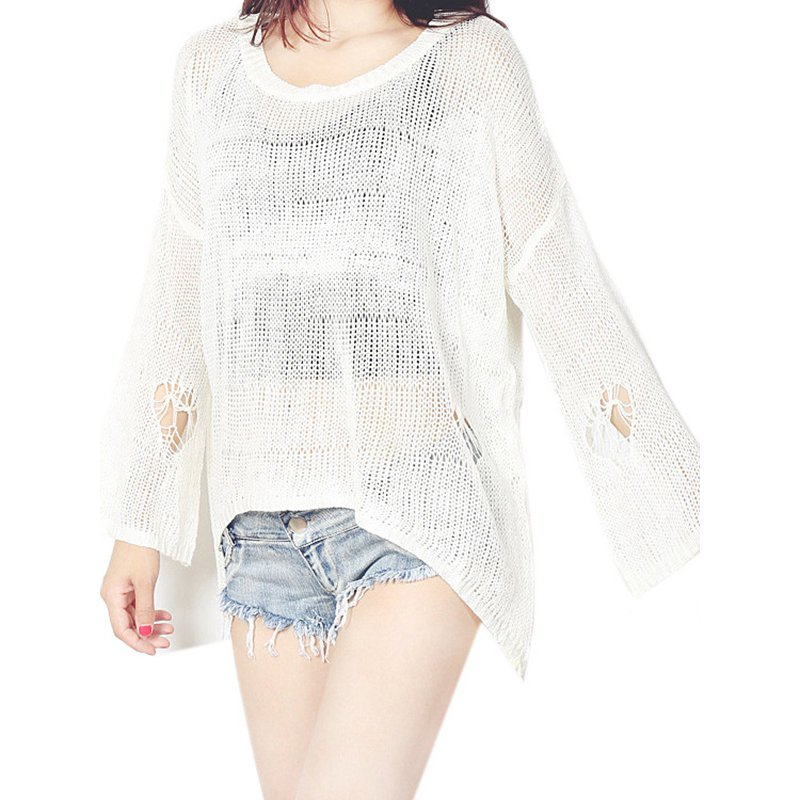 Knitted Crochet Women Blouses Fashion Spring Autumn Beach Kimono Knits Hollow Out ShirtTops WT52019A