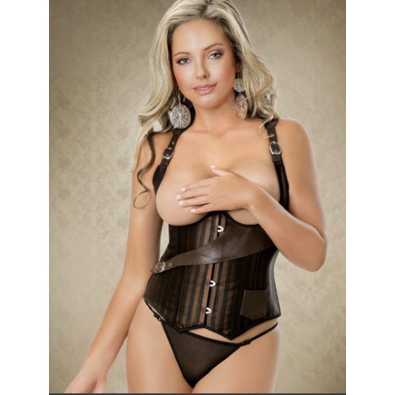 Gothic Stylish Waist Trainer Sexy Slimming Body Shaper Corset Steampunk Women Open Bust W58903