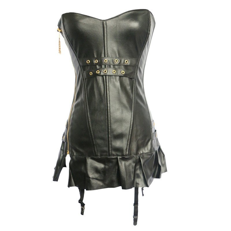 Zipper Black Faux Leather Corset With Skirt Steampunk Overbust Corset Bustiers Corselet W589002A