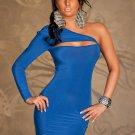 Stylish 2017 Summer New High Quality Sexy One Shoulder Split Blue Bodycon Women Dress W203121D