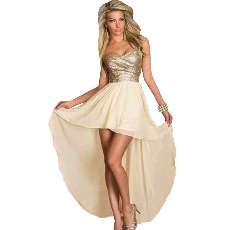 Party Dress Fashion Women Graceful Sequined Long Back Short Front Sleeveless Mini Dress W203140A