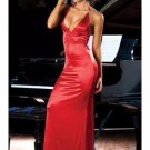 Women Red Black Long Satin Dress Halter Neck Tie Decorate With Rhinestone Sexy Gown W203595B