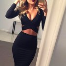 Long Sleeve Elastic Cotton Warm Party Dresses Sexy Midi Pencil Club Bodycon Bandage Dress W860305B