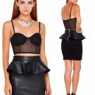 Women Black Peplum Pencil Skirt Short Mini Vinyl Leather High Waist Vintage Solid Sexy Skirt W7987