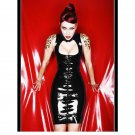 Sexy Women Black Vinyl Black Sexy Leather Bodycon Turtleneck Party Dress Night Club W7943