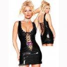Women Summer Sexy Sleeveless Sheath Mini Dresses Lace Up Hollow Out Frenzy Clubwear Vinyl W7035