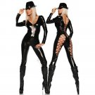 Black Sexy Catsuit Sexy Lace Up Style Hollow Out Faux Leather Jumpsuit Low V-Neck Long Catsuit W7913