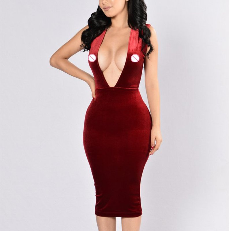 Womens Elegant Solid Color Halter Backless Vintage Slimming Club Party Bodycon Dress W126858