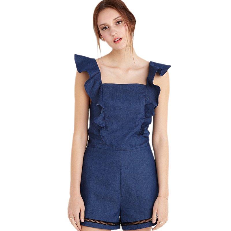 Square Neck Crisscross Zip-Back Ruffle Sleeveless Denim Rompers Blue Women Jean Jumpsuit WT76074