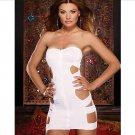 Sexy White Mini Bodycon Night Club Pole Dancing Dress W6307A