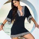 Summer Women Casual Mini Black V-Neck Beach Tshirt Dresses W14011