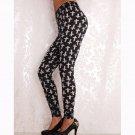 Summer Spring Harajuku Fitness Women Midi Waist Leggings Creative Elastic Pants WL046