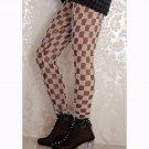 Grid Porcelain Geometry Pencil Leggings Plaid Casual Long Leggings WL049B
