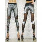 Sexy Sheer Mesh Patchwork Shiny Metallic Leggings Girl Punk Rock Leggins fashion ankle pants WL7861B