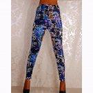 Blue Printed Patterns Women Low Waist Slim Fitness Trousers  WL062