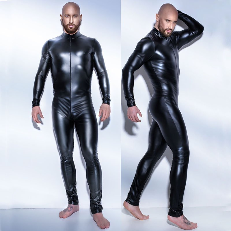 Male PVC Leather Bodysuit Long Jumpsuit Mens Fetish Latex Clubwear Catsuit Lingerie W930917