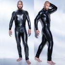 Male PVC Leather Bodysuit Long Jumpsuit Mens Fetish Latex Clubwear Catsuit Lingerie W930917