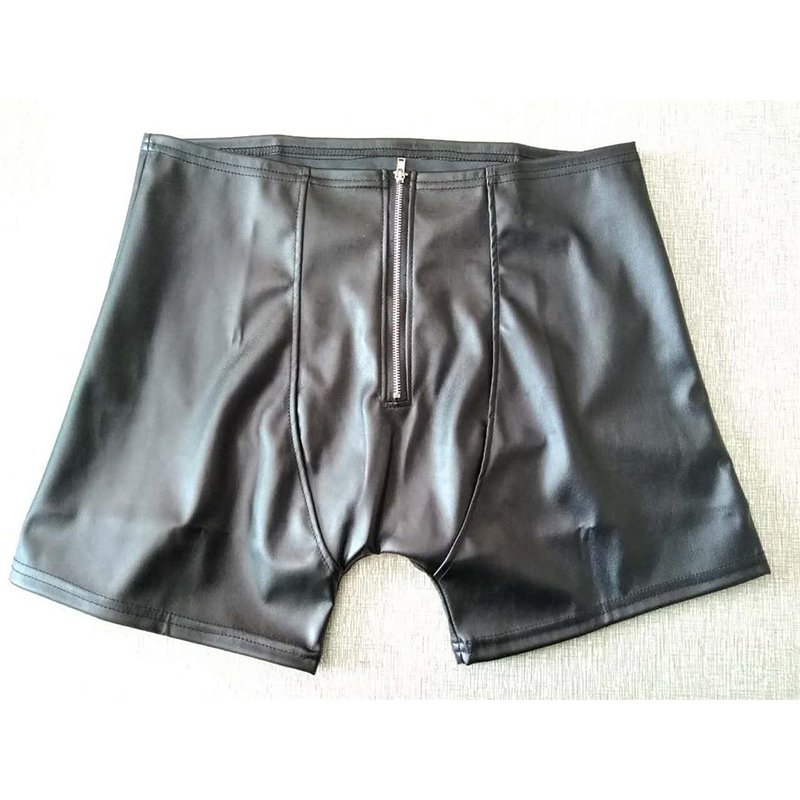 Underwear Man Sex exposed buttocks Pants Sleepwear Lingerie Black Zipper Leather Male Pant W930927