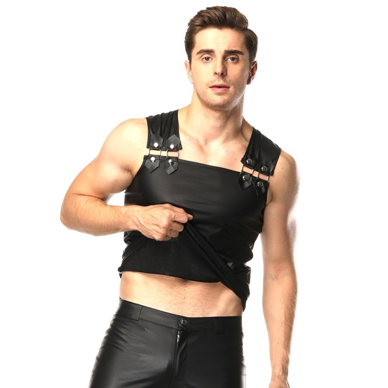 Sexy Punk Male Black Leather Faux Tank Top Men Club Erotic Costume W930943