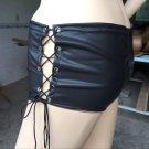 Sexy Punk Style Women Black Leather Lace up Minipants Summer Clubwear Hot Pants W931098