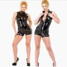 Women Black Shiny Leather jumpsuits Zipper Stand Collar Sleeveless Clubwear Bodysuit W931098