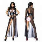 Women Sexy Leather Mesh High Split Gown Transparent Crotchless Nightwear Grown Lingerie W931073