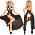 Punk Girl Sexy Transparent Backless High Split Crotchless Summer Dress Clubwear Dress W931079