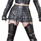 Gothic Punk Style High Waist Mini Skirt Black Faux Leather Cross Lace Up Cool Girl Skirt W931075