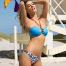 Light Blue Two Piece Bandeau Halter Strappy Swimwear Summer Beachwear Bikini Set WT41912