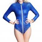 Blue Faux Leather Bodysuit women Sexy  Long Sleeve Zipper to Crotch Catsuit W926714A