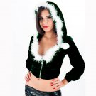 Women Dark Green Fetish Hoodie Coat Sexy Santa Hooded Crop Top Costume W4004B