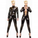 Sexy Women Fetish Leather Front Zipper Open Crotch Stretch Catsuit W7904