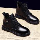 Vintage Ankle Boots For Women Autumn Winter Platform Boots Black Patent Leather Shoes