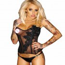 Sexy Black Embroidery Transparent Mesh Lingerie Bustier Corset Top W8704110