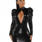 Sexy Sequin Backless Short Club Party Evening Dress Long Sleeve Bodycon Mini Dresses