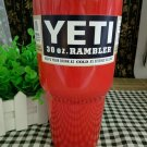 Colored YETI Rambler Tumbler 30 Oz Red Color Stainless