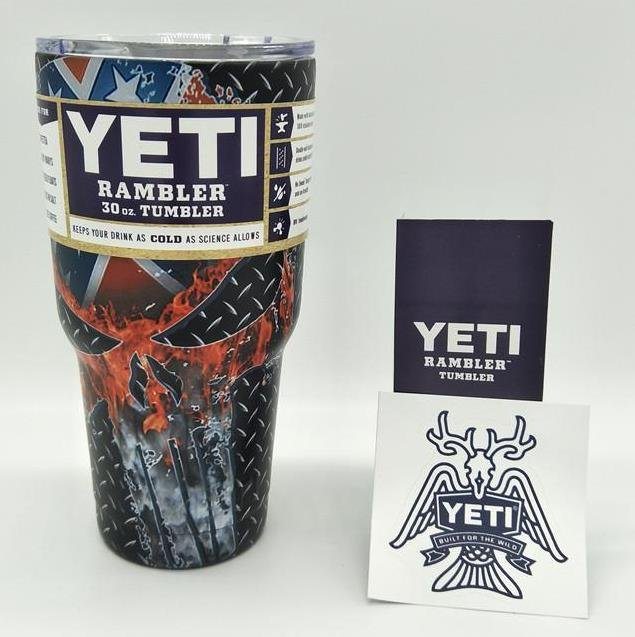 Camouflage Skull Star Ancient US Flag Colored YETI Rambler Tumbler 30 Oz Stainless FREE SHIPPING