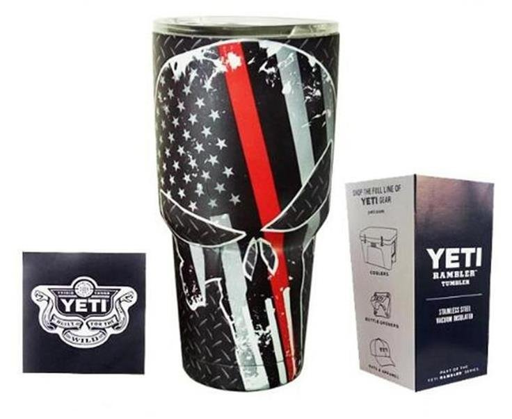 Camouflage Skull Star Today US Flag Red Colored YETI Rambler Tumbler 30 Oz Stainless FREE SHIPPING