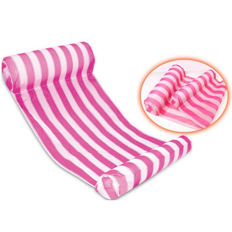 Red Rose Stripes Color Floating Inflatable Air Mattress for Swimming Activity