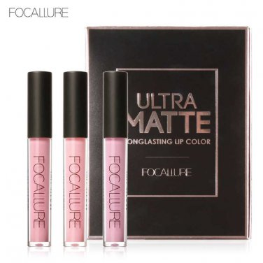 Hot Focallure Authentic Ultra Matte Longlasting Lip 3 Colors Gift Set Kit #3